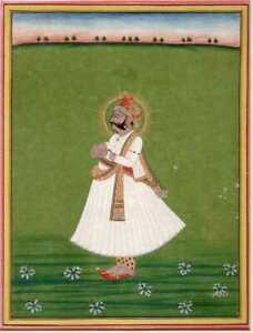 Indian Miniature Painting Antique Portrait Of Maharaja Fine Gold Decoration