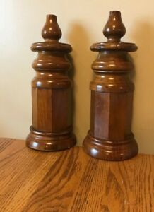 2 Large Vintage Hard Wood Finial Ornate Bed Post Top Architecture Salvage