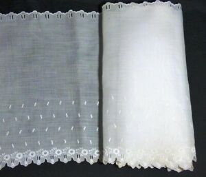 Vtg Antique 13 1 2 Wide Whitework Broderie Anglaise Double Ribbon Eyelets 2 Yds