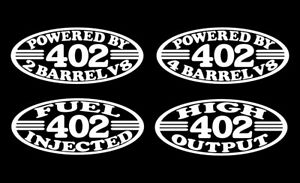 2 402 V8 Bbc Engine Decals 2 4 Barrel High Output Fuel Injected 6 6 Bored 396