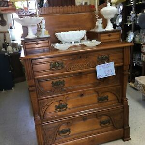 Antique Victorian Era Eastlake Chest Of Drawers With Glove Drawers