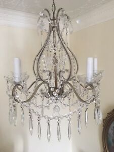Antique Vintage Italian Crystal Macaroni Beaded Chandelier