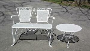 Vintage Mid Century Modern Wrought Iron Mesh 2 Piece Patio Settee Bench