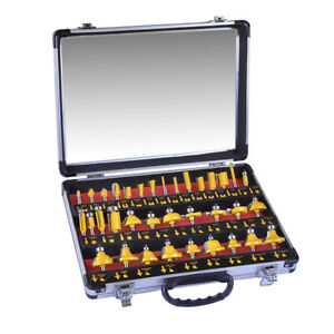 35pcs Router Bits Set Carbide Tipped 1 4 Shank With Wooden Carry Case