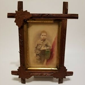 Antique 1890s Hand Carved Picture Frame Tinted Colored Photo Boy Leaf Leaves