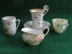 Antique Mixed Coffee Set 1 Coffee Cup Saucer 2 Coffee Cups 1 Creamer