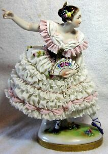 Exceptional Large Volkstedt Porcelain Dresden Lace Ballerina Figurine With Fan