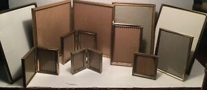 Vintage Lot 10 Mid Century Metal Gold Finish Fancy Ornate Shabby Picture Frames