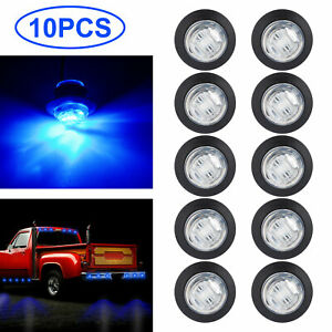 10pcs Round 3 4 Blue Led Clearance Marker Bullet Auto Truck Trailer Lights Lamp