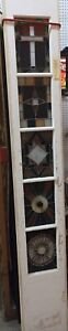 Vintage Five Panes Leaded Stained Glass Church Door Salvage