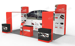 Trade Show Waveline 20ft X 10ft Fabric Exhibition Booth With Graphic 2020 03