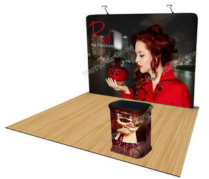 Trade Show Waveline Straight Display Booth 10ft Fabric Tension Pop up