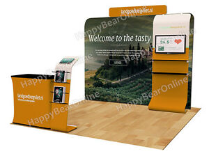Trade Show A12 Display Exhibition Booth 10ft tv Stand Display Shelves Header