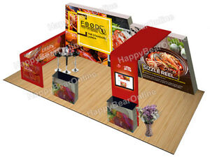 Trade Show Quick Pop up 20ft X 10ft Fabric Exhibition Booth Tv Monitor Shelves