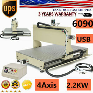 Usb 6090 4 Axis Carver Cnc Router Engraver Machine Mill Drilling Cutter 2200w 3d