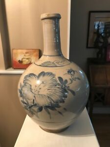 Antique 1800 S Korean Blue White Porcelain Or Stoneware Bottle Vase Asian Art