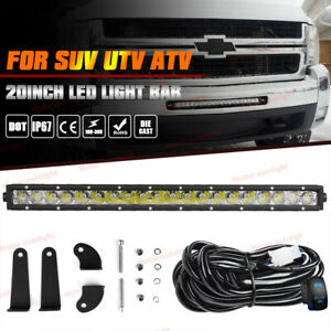 20 100w Led Offroad Light Bar Driving Work For Chevy Silverado 1500 2500 3500