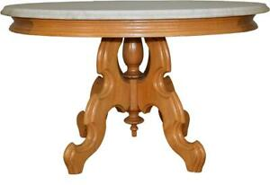 17657 Victorian Oval Walnut Marble Top Coffee Table