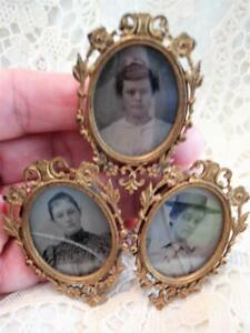Victorian French Miniature Triple Filigree Ormolu Easel Backed Picture Frame