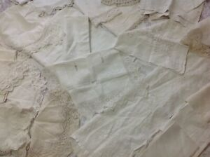Job Lot 20 Vintage Linens Suitable For Craft Work Or Mend Whites Creams