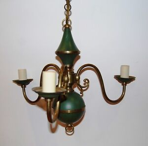 Antique Vintage French Brass Green Tole 3 Arm Chandelier