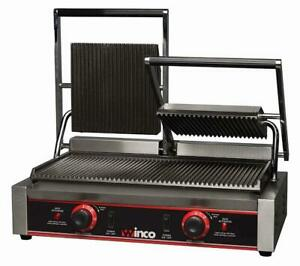 New 23 Double Electric Ribbed Panini Press Grill Winco Epg 2 9977 Etl Sandwich