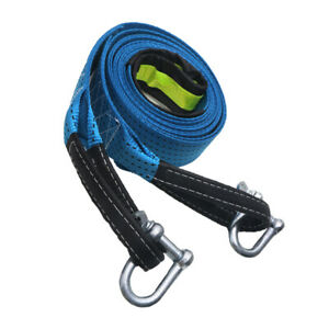 Tow Winch Rope With Luminous U hook Blue Vehicle Towing Strap Blue