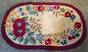 Vintage 1930 S Floral Hand Hooked Folk Art Oval Wool Area Rug 35 5 X 22