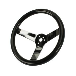 Speedway Classic Solid Spoke 12 Inch Black Steering Wheel No Holes