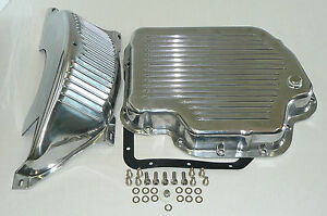 Shallow Chevy Polished Aluminum Th 400 Transmission Pan Flex Plate Cover Kit