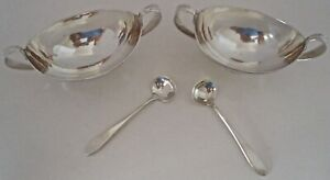 American Arts Crafts Pair Of Arthur Stone Open Salts Matching Spoons 1925
