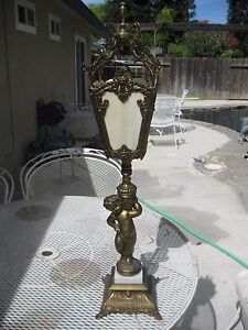 Antique Ornate Cherub Arts Crafts Slag Glass Shade Staircase Torch Table Lamp