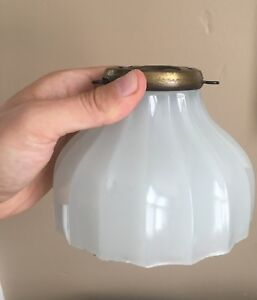 Vtg Antique Art Deco Ceiling Light Fixture Floor Lamp Glass Shade 1910s 1920s