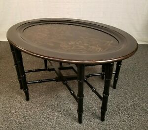 Ethan Allen Asian Distressed Black Paint Decorated Oval Serving Tray Table End