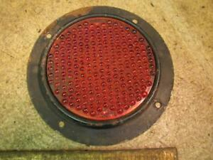 Vintage Glo Brite R100 Red Glass Reflector Johnson Glass Co 2 Truck Trailer