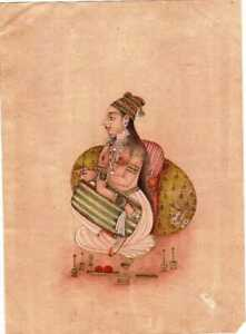 Vintage Handmade Indian Miniature Fine Painting Sketch On Paper Mughal Queen