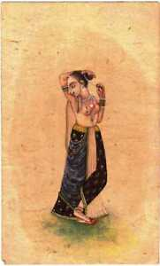 Vintage Indian Miniature Fine Painting Sketch On Paper Mughal Style Women