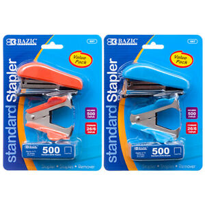 New 364045 Stapler Mini 2 Tone Color W Staples Bazic 697 24 pack School
