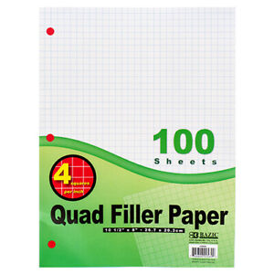 New 304864 Quad Ruled Filler Paper 100ct Bazic 36 pack Cheap Wholesale