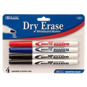 New 325158 Marker Whiteboard 4pc Dry Erase 1201 bazic 24 pack School