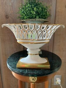 Fruit Compote Centerpiece Corbeille Porcelain Old Paris French With Liner