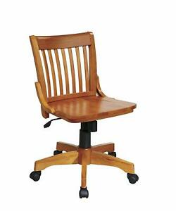 Office Star Deluxe Armless Wood Bankers Desk Chair With Wood Seat Fruit Wood