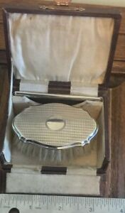 A Charming Solid Silver Babies Brush Comb Set In Leather Case 1925 A349
