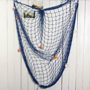Mediterranean Scene Fishing Net Seashell Deco Netting Photo Prop 1 5x2m Blu
