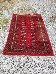 Persian Tekke Yomud Turkoman Oriental Antique Wool Area Rug Red Maroon 4x6