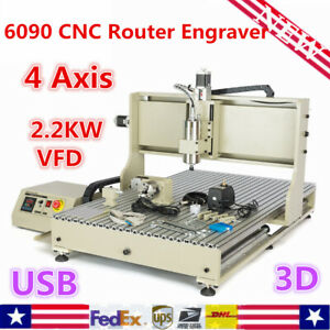 Usb 6090 4 Axis Cnc Router Engraving Milling Engraver Machine 2200w Vfd Cutter