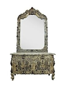 Dressing Table Mirror Wood Art Decor Furniture Vintage Vanity Mb0010af