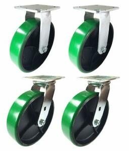 A Set Of 4 Casters Green Polyurethane On Cast Iron 4 5 6 8