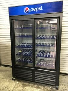 2 Glass Door Drink Display Merchandiser Refrigerator Cooler Nsf Qbd Cd45s 8543