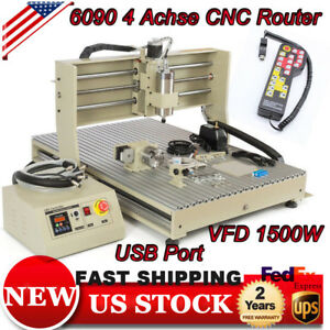 Usb Cnc 6090 Router 4 Axis 1500w Vfd Engraver Mill Carve Machine W Controller